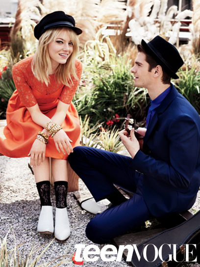 r1k7qb Andrew Garfield & Emma Stone em editorial fofo da Teen Vogue